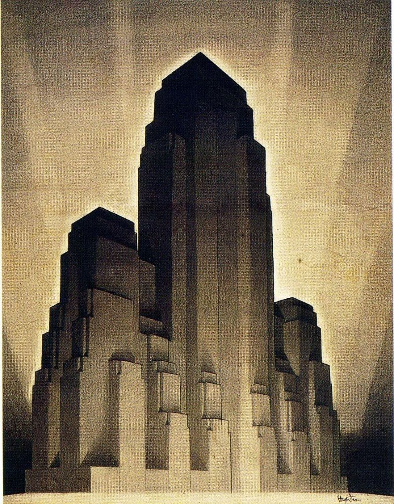 Long Lines Building. Un rascacielos sin ventanas. Hugh Ferris New York