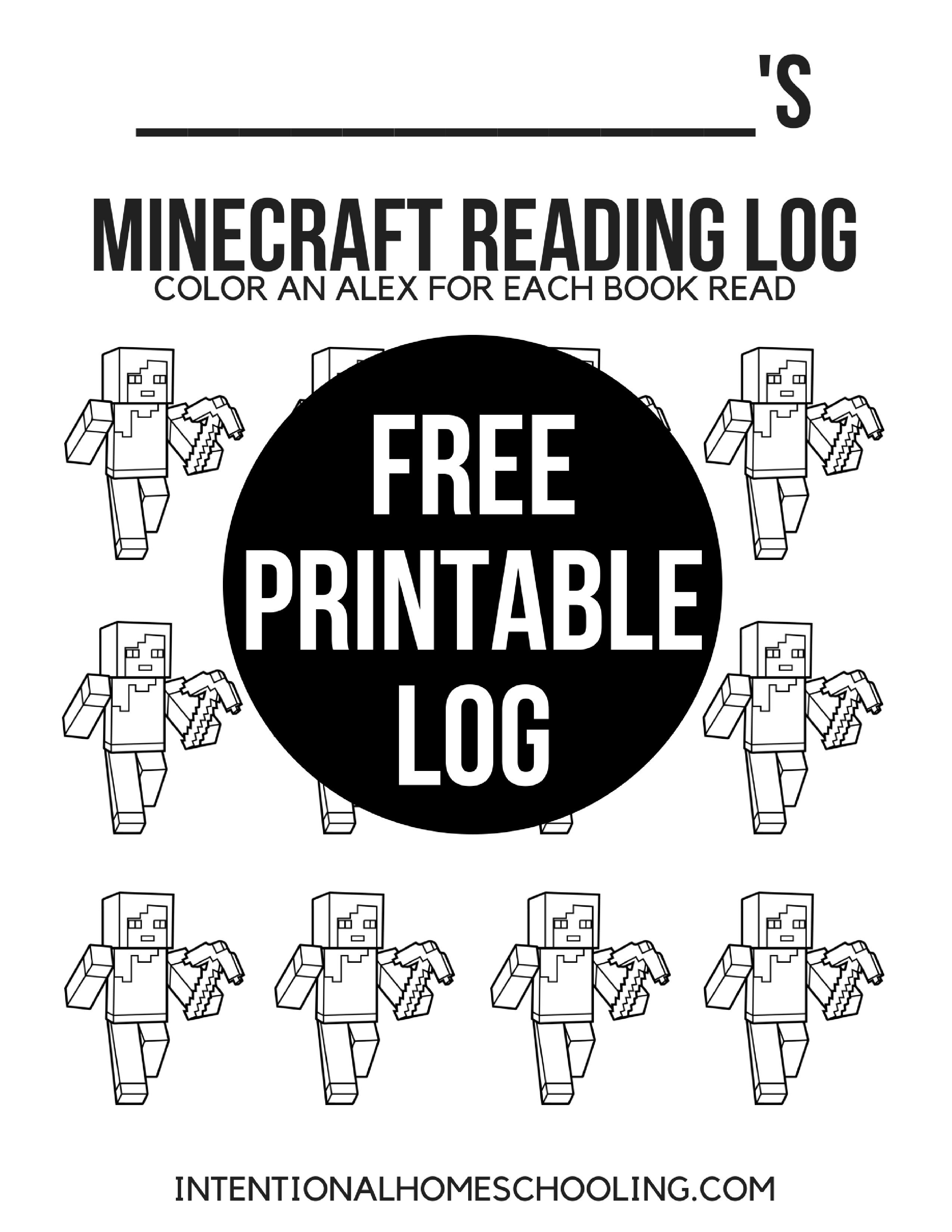 Printable Minecraft Reading Log