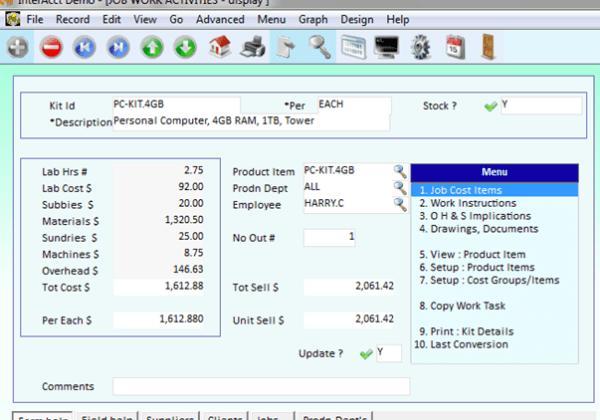 Kit Costing – Job Work Activities