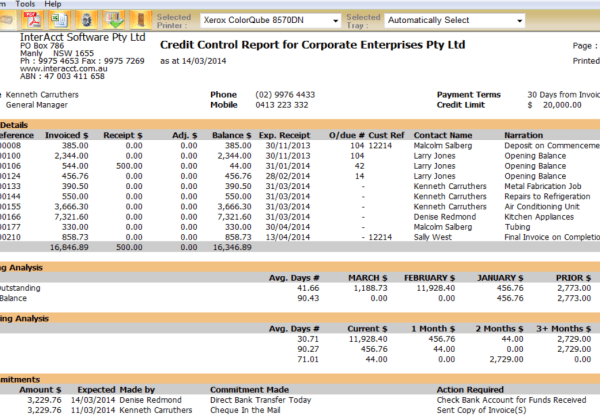 Construction – Credit Control Report