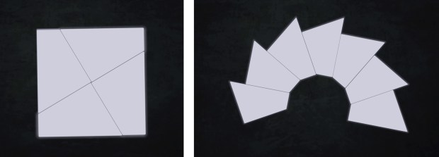 Organisation of four modules in an orthogonal way(left) ; Organisation of several modules in a radial pattern (right)