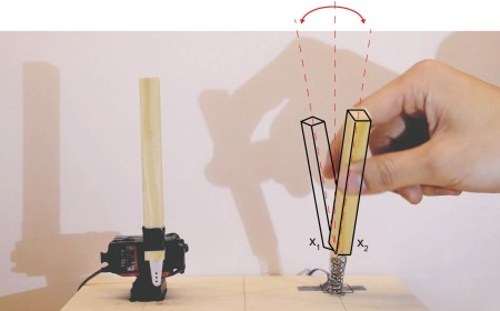 Figure 3. Both the sticks are initially at rest, until when a third agent, the human hand, interacts with the sensor. The stick affords twisting. If twisted gently, no reaction is scheduled