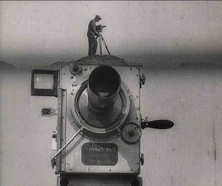 Fig. 19 Vertov, (1929) Still from the Opening shot of Man with a Movie Camera, in which the cameraman of the movie is standing on top of his camera; one of many illusionistic effects of the movie