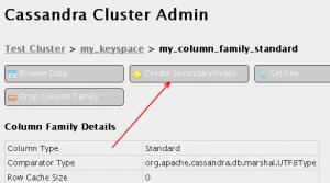 Detalle de la ubicación del botón Create Secondary Index