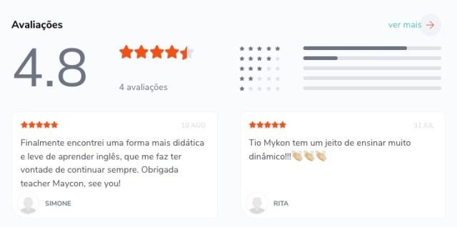 Curso inglês definitivo Be Smart Tio Maykon - Nota de avaliação na Hotmart