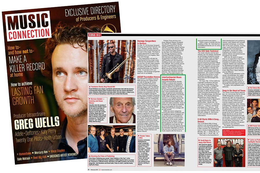 InterContinental Music Awards - announcement in the music connection magazine