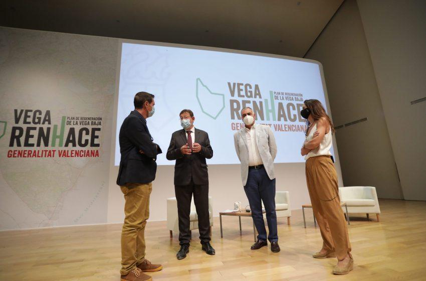 Ximo Puig anuncia que el Plan Vega Renhace contará con 100 millones en los Presupuestos de 2021 y que se pedirá financiación europea para proyectos en la Vega Baja por importe de 400 millones