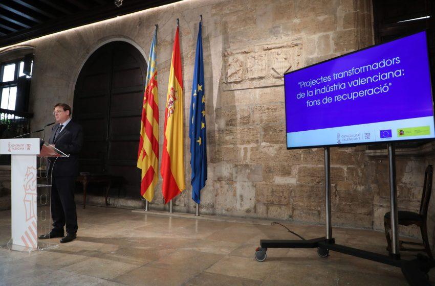 Ximo Puig anuncia el apoyo a 20 proyectos industriales que suman 5.500 millones de euros de inversión y que aspiran a captar fondos europeos con una capacidad de creación de 60.000 empleos