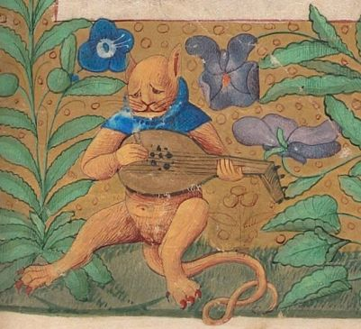 Melancholic cat plays the lyre in a Book of Hours from France, 15th century