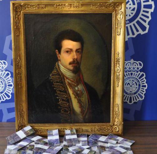 fake Goya painting with fake money