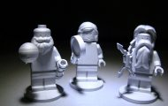 The models of three Lego figurines sent with the Juno spacecraft are Galileo Galilei, and the Roman gods Juno and Jupiter. NASA/JPL-CALTECH/LEGO