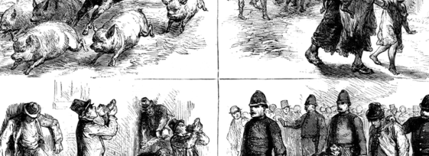Contemporary illustrations showing the Whiskey Fire of 1875.
