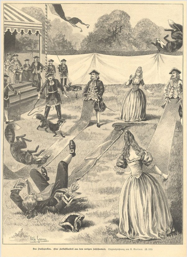 An engraving of German aristocrats engaged in the sport of fox tossing (Fuchsprellen, lit. 'fox bouncing' or 'fox tossing')).