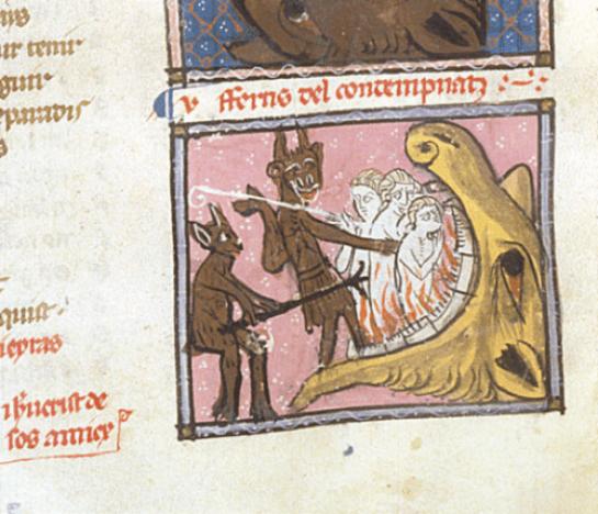 Medieval devil with fork