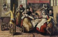 Medieval prostitutes in a brothel
