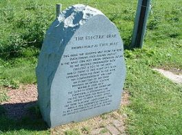 Electric Brae - stone marker describing Scotland's natural wonder of illuion
