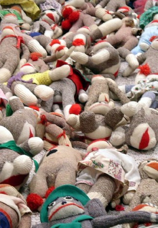 Mass of sock monkeys, collection of Lynne Bailey