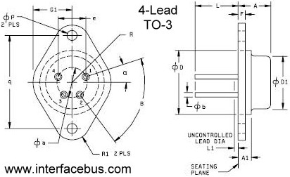 Transistor Case Packages, TO-3 Style Flange Mount 4-Lead Case