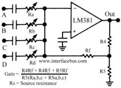 Diseño Electrónico: Audio Mixer with LM381