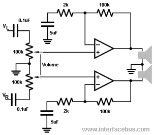 100k dual ganged stereo volume control wiring diagram thermo king sb210 glossary of electronic and engineering terms op amp amplifier single supply speaker driver