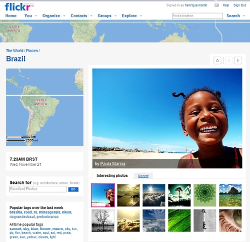 Flickr Places - página do Brasil