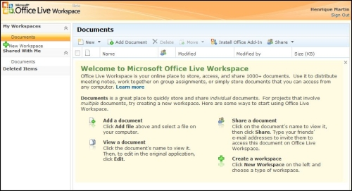Tela inicial do Office Live Workspace