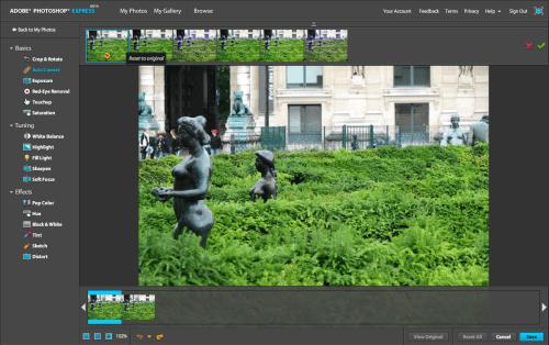 Photoshop Express: detalhe para os seis thumbnails com opções de imagem