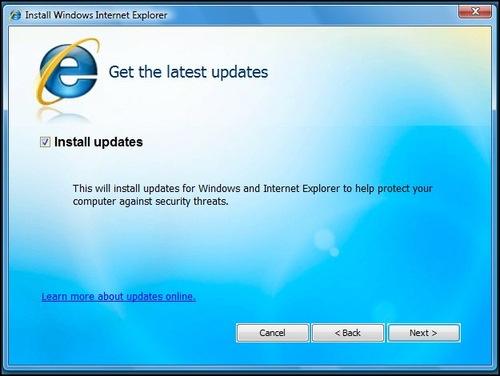 IE8: baixando updates