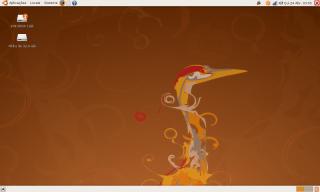 Um desktop padrão do Ubuntu 8.04