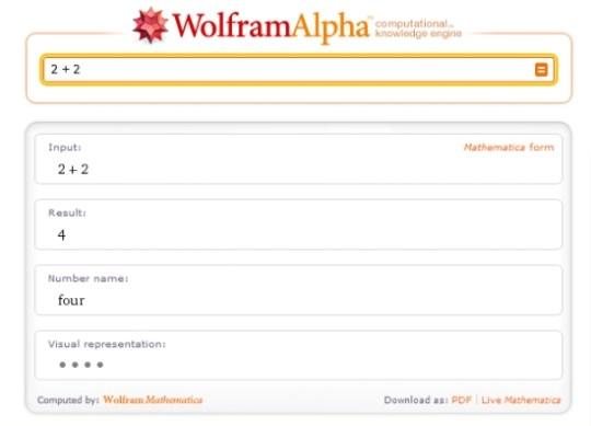 dois mais dois: uma brincadeira para ilustrar o poder do Wolfram Alpha