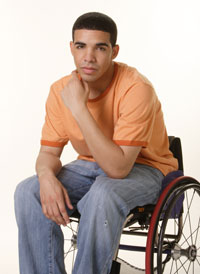 wheelchair drake wicker tub chairs nz degrassi actor says being different made him stronger interfaithfamily photo courtesy ctv