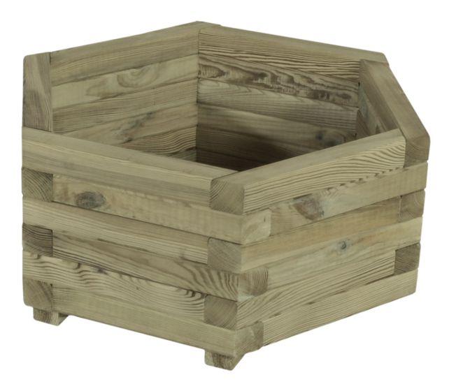 jardiniere bois hexagonale 50x45cm