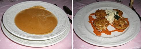 ロブスターのスープと蟹のコロッケ
