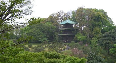 新緑の椿山荘の庭園