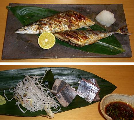 秋刀魚の塩焼きと刺身
