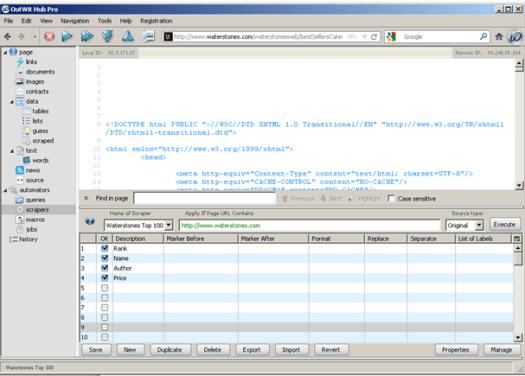 OutWit Hub dashboard