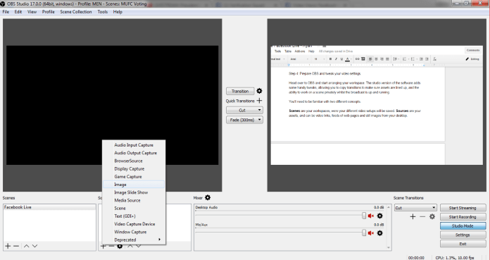 opening obs and adding image
