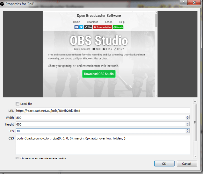 adding browser source to obs