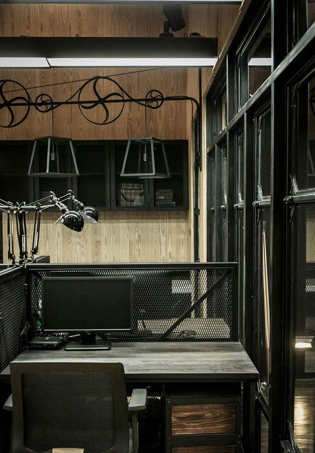 Decoración de oficina con estilo industrial