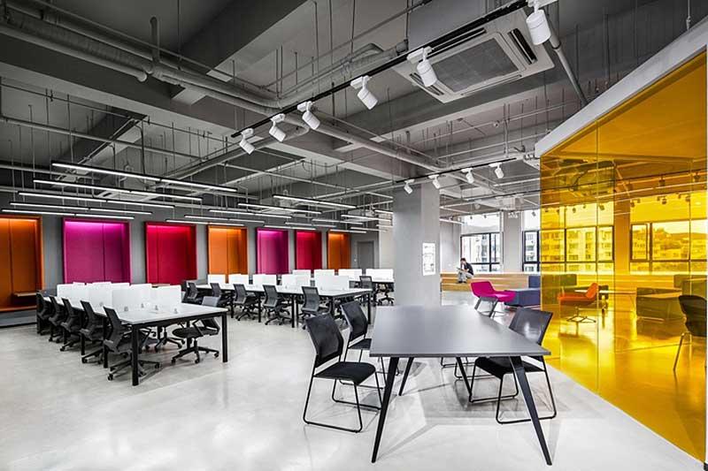 Oficina moderna shanghai sunrise polymer material for Oficinas modernas