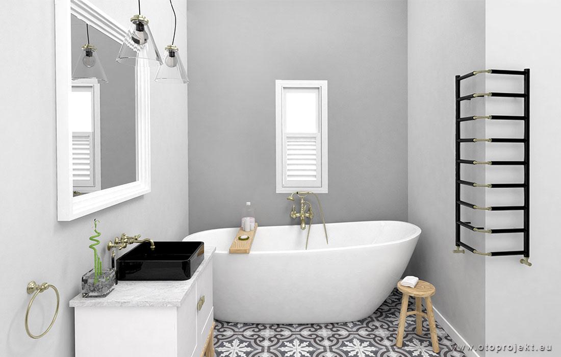 Badkamer met patroontegels en gestucte wanden  Interieur