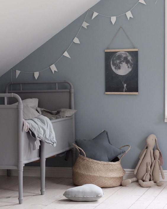 Denim drift grijs blauwe muurInterieur inrichting