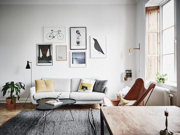 Kantoor in een Scandinavische woonkamer  Interieur inrichting