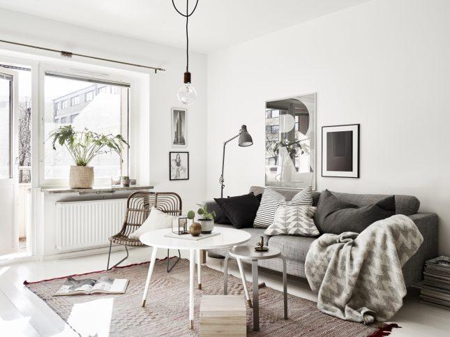 Kleine woonkamer in een klein Scandinavisch appartement