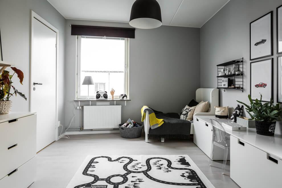 Leuke gedeelde kinderkamer in zwart wit en grijs