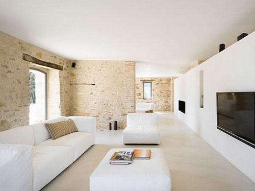 Moderne woonkamer met bakstenen muur  Interieur inrichting