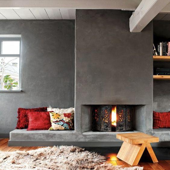 Open haard muur met betonstuc  Interieur inrichting