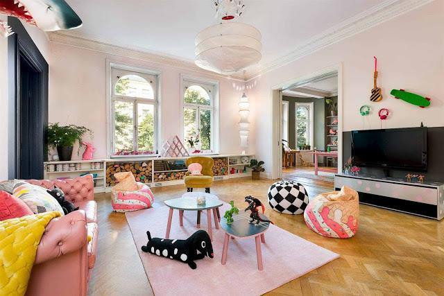 Roze Scandinavische woonkamer  Interieur inrichting