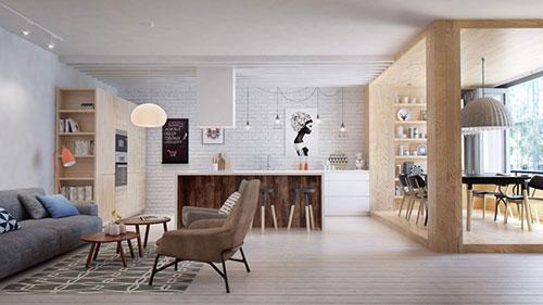 Scandinavische woonkamer met mooie meubels  Interieur