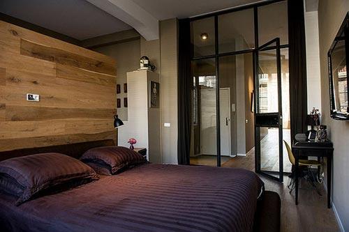 Slaapkamer met badkamer Amsterdamse loft  Interieur